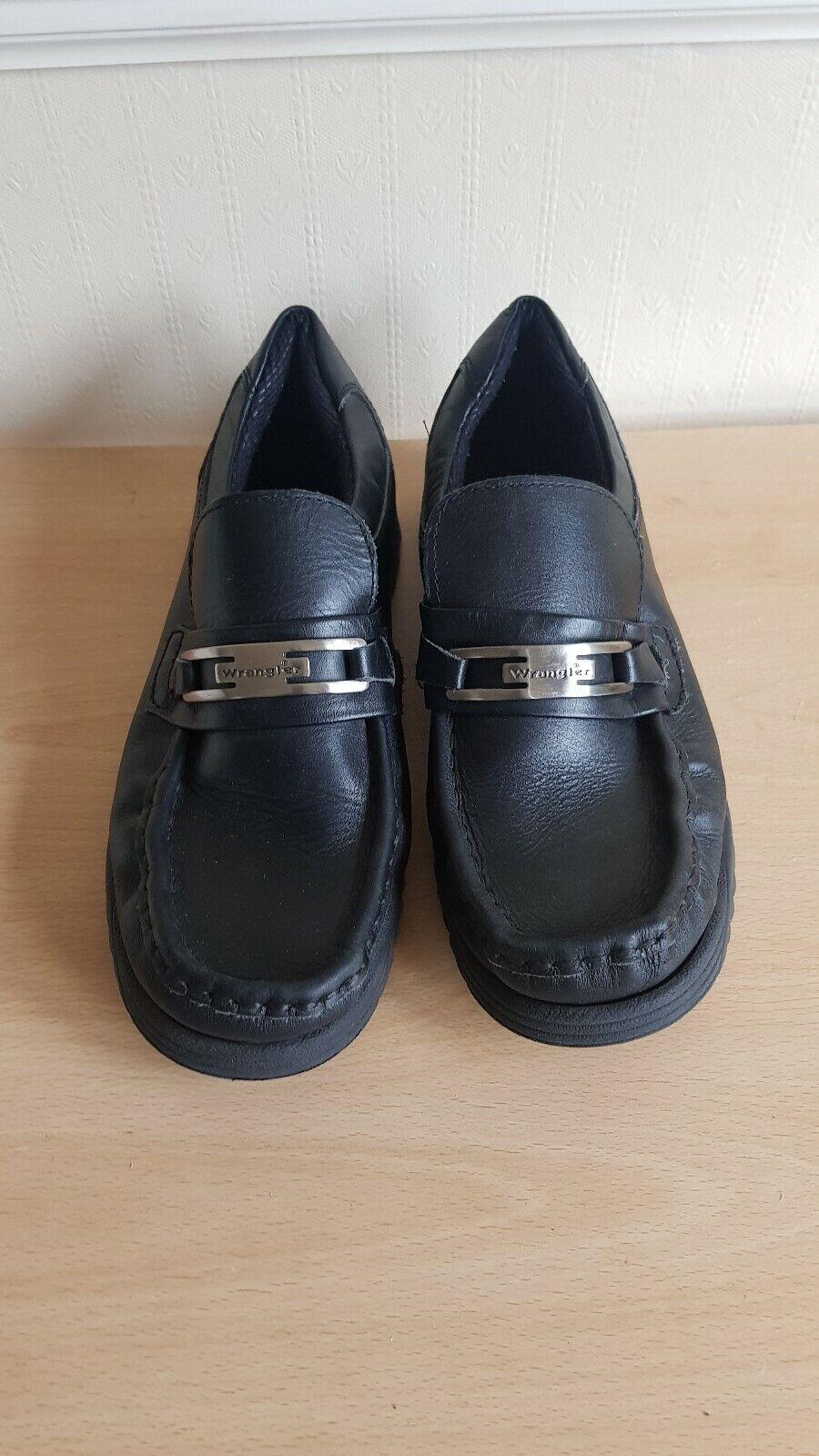 WRANGLER FOOTWEAR BLACK MEN'S LEATHER SHOES (UK SIZE 8, EU 42)