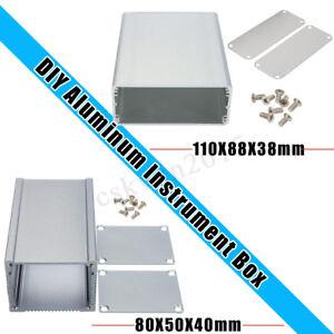2-Type-Electronic-Aluminum-PCB-Instrument-Enclosure-Case-Project-Box-DIY-Sliver