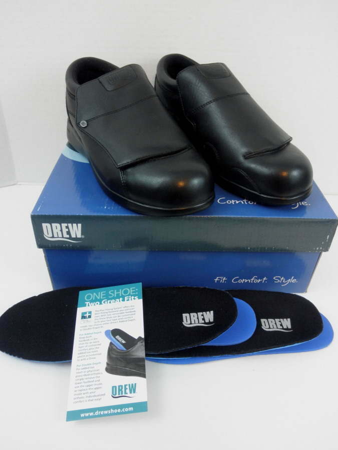 New Drew Victoria Black Leather Slip Ons Womens 9 W Diabetic Therapeutic NIB