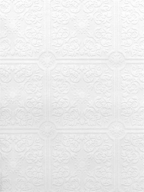 Small Ceiling Tile Raised White Textured Paintable Wallpaper 497 96291 FREE  SHIP
