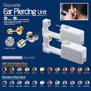 Disposable Ear Piercing Unit Kit - Birthstones Silver Gold Stud Earring Gun Home