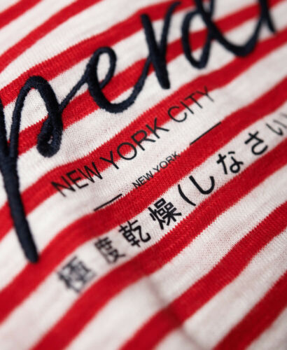 Superdry Womens Stripe Lace Graphic Top