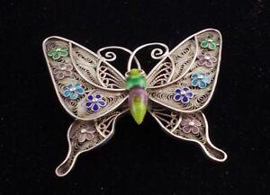Brosche Schmetterling Silber Email Emaille Uhren & Schmuck
