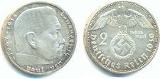 1936-1939 62.5% Silver German Third Reich 2 Reichsmark Hindenburg Swastika Coin