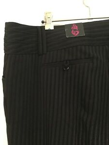 Torrid-plus-size-20-womens-Black-striped-trouser-pants-with-wide-belt-lugs