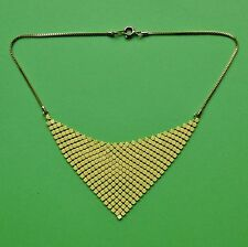 VINTAGE CHAIN MAIL 80'S GEOMETRIC TRIANGLE PRIMROSE YELLOW NECKLACE PASTEL SNAKE