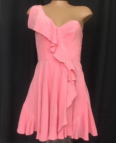 Zimmerman Dress Pink Silk One Shoulder Ruffle Size