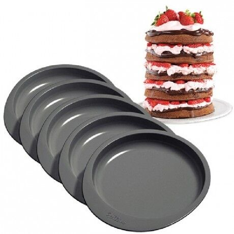 SET 5 TEGLIE ANTIADERENTI PER TORTE A STRATI 0264457 WILTON RAINBOW CAKE