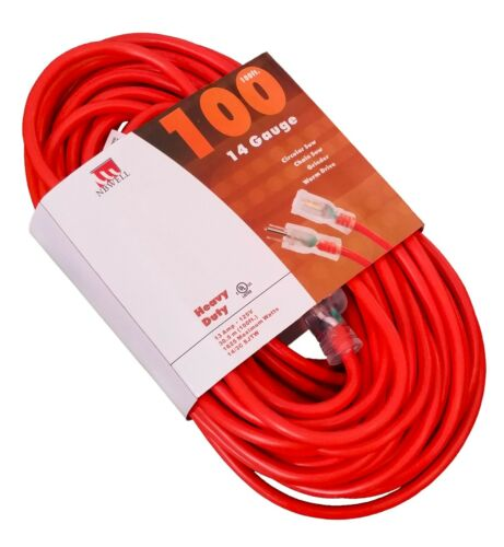 100-Ft Extension Cord 14 Gauge Lit End UL NEW 14//3 100 Foot Feet