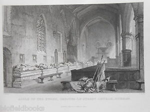 Antiquarian-Durham-Engraving-Aisle-of-the-Tombs-Chester-Le-Street-Church-1834