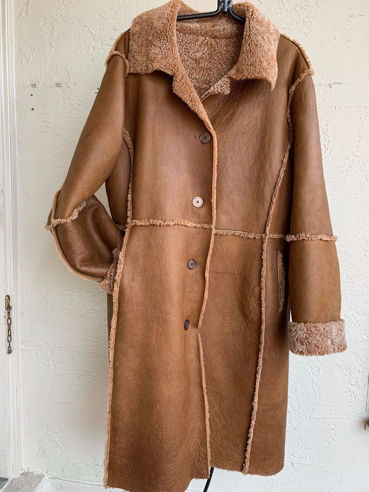SAWYER OF NAPA NAPA NAPA LIGHTWEIGHT GENUINE SHEARLING SHEEPSKIN FUR LONG WOMENS COAT SZ L e43567