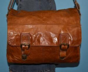 FOSSIL Brown Glossy Leather Unisex Messenger Briefcase Shoulder Cross-Body Bag