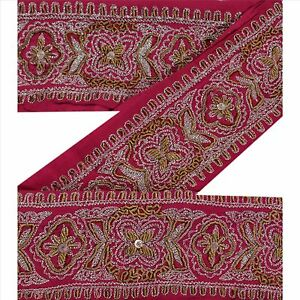 Sewing Embellishments & Finishes Reasonable Vintage Sari Border Antique Hand Beaded Trim Sewing Pink Zari Lace