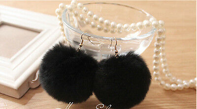 Hot Harajuku Kawaii Rabbit Fur Ball Earrings Super Cute Lolita Earrings 7 Colors