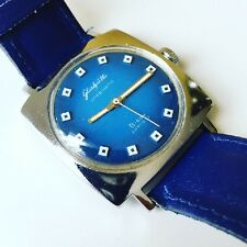 Mens Glashutte Original Senator Sixities Spezimatic Blue Square Watch Bison GUB