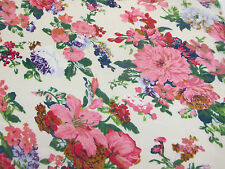 """Ivory & Pink """"Vintage Flowers"""" Floral Printed 100% Cotton LAWN/VOILE Fabric"""