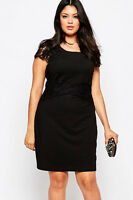 New Ladies Black Lace Cap Sleeve Plus Wiggle Pencil Dress Evening party Size 16