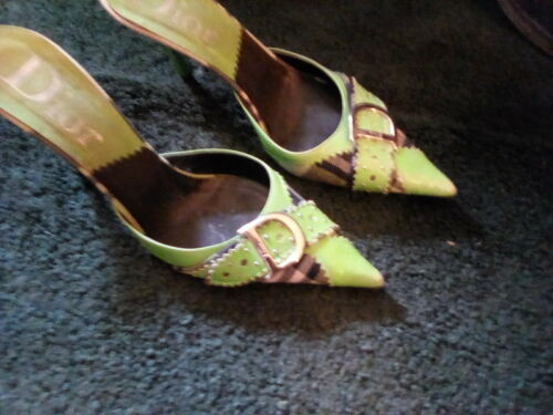 Christian Dior lime green mules