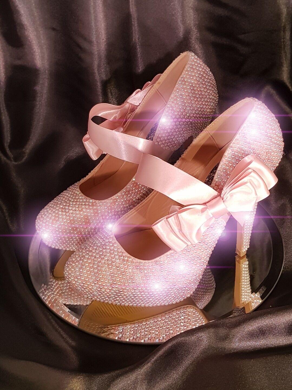 Handmade crystalised embellished Faux Pearl bridal Heels crystal shoes UK5