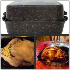 Pan Turkey Duck Roaster Oven Covered Oval Nonstick Roasting Bird Cooks Food NEW