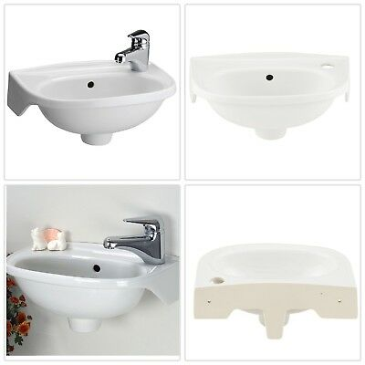 Wall Mounted Small Bathroom Sink White Mini Compact Space Tiny