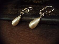 Vintage Pearl Drop Silver Hook Pierced Earrings