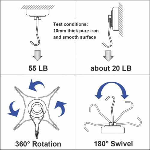 55LBS Swivel Swing Powerful Magnetic Hooks,Strong Neodymium Magnet Hook Magnet..