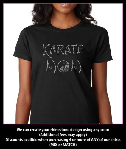 Karate Mom Rhinestone T-Shirt Sizes S-2XL Black White Pink