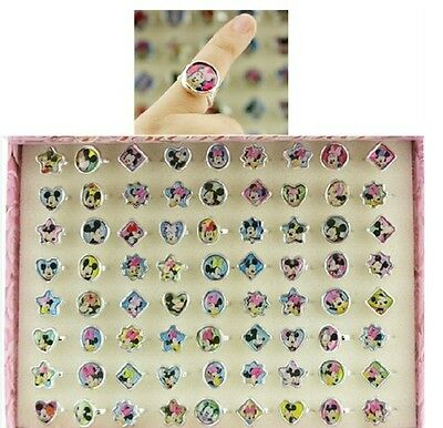 New Lot 72 PCS children Cute Plastic Mickey Minnie Girls Rings Party Gifts