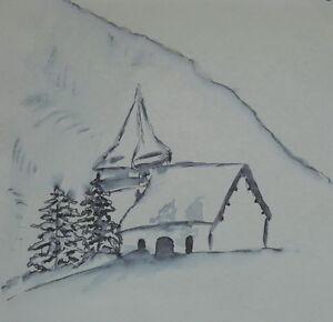 Aquarell-Gemaelde-Winterlandschaft-Natur-Kapelle-Kunstwerk-Bild-Malerei