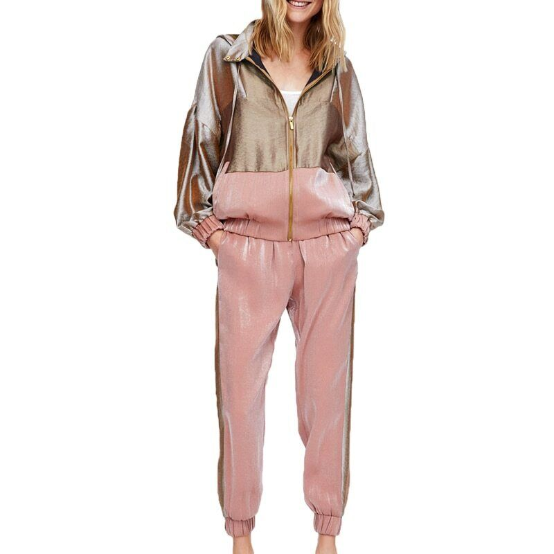 Women Clothing Patchwork Sweat Suit 2 Piece Set Long Sleeve New Style
