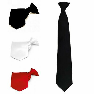 High Quality Black Plain Clip On Tie Security Doorman Bouncer Funeral Wedding