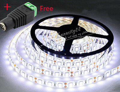 500cm 5050 SMD Cool White 300 LED Flexible Tape Light Strip Lamp 12V + Free DC