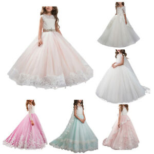 Wedding-Flower-Girls-Dress-Pageant-Bridesmaid-Trailing-Gown-Communion-Party-Prom