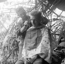 WW2 Photo WWII Australian Hair Cut  Captured Japanese Flag  World War Two /1452