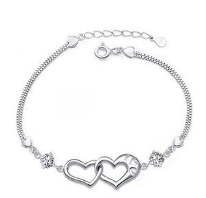 Details About Silver Swarovski Element Crystal Zirconia Heart Link Bracelet Chain Gift Box B10