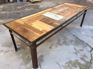 Tavolo In Ferro E Legno : Tavolo stile industriale modernariato vintage ferro e legno ebay