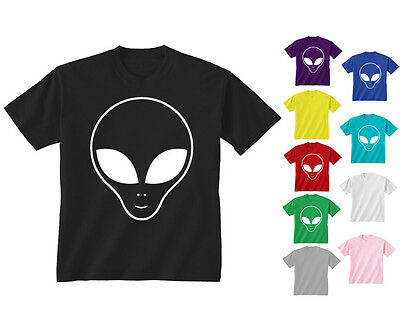 Kids Childrens Alien Face Large Front Print UFO Space T-shirt 5-13 Years