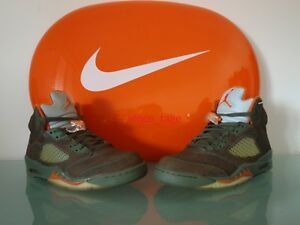 New-2006-Nike-Air-Jordan-V-5-Retro-LS-ARMY-OLIVE-SOLAR-ORANGE-10-US-44-EUR-6-4-3