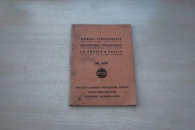 193018) Massey-ferguson Harris Anbau Strohpresse Handbuch 195?
