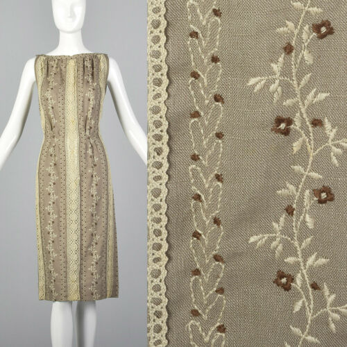 XS 1960s Moygashel Irish Linen Pencil Dress Sleeve