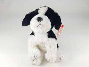 TY Beanie Baby Babies Riggins 48440 Black White Dog Puppy 9-2007 Plush Toy