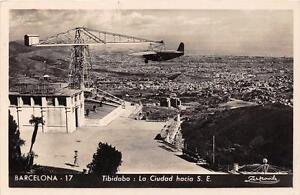 CPA-ESPAGNE-BARCELONA-TIBIDABO-LA-CIUDAD-HACIA-AVION-SUR-PYLONE-AVIATION