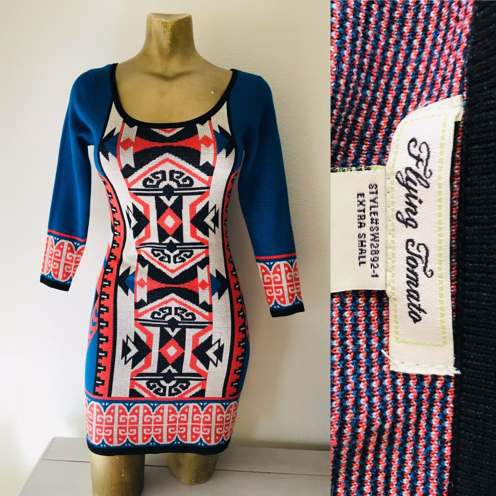 FLYING TOMATO Tribal Print Knit DRESS XS - image 8