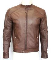 JACK SLIM FIT Men's Gents BROWN Designer Fitted Casual Real Leather Biker Jacket