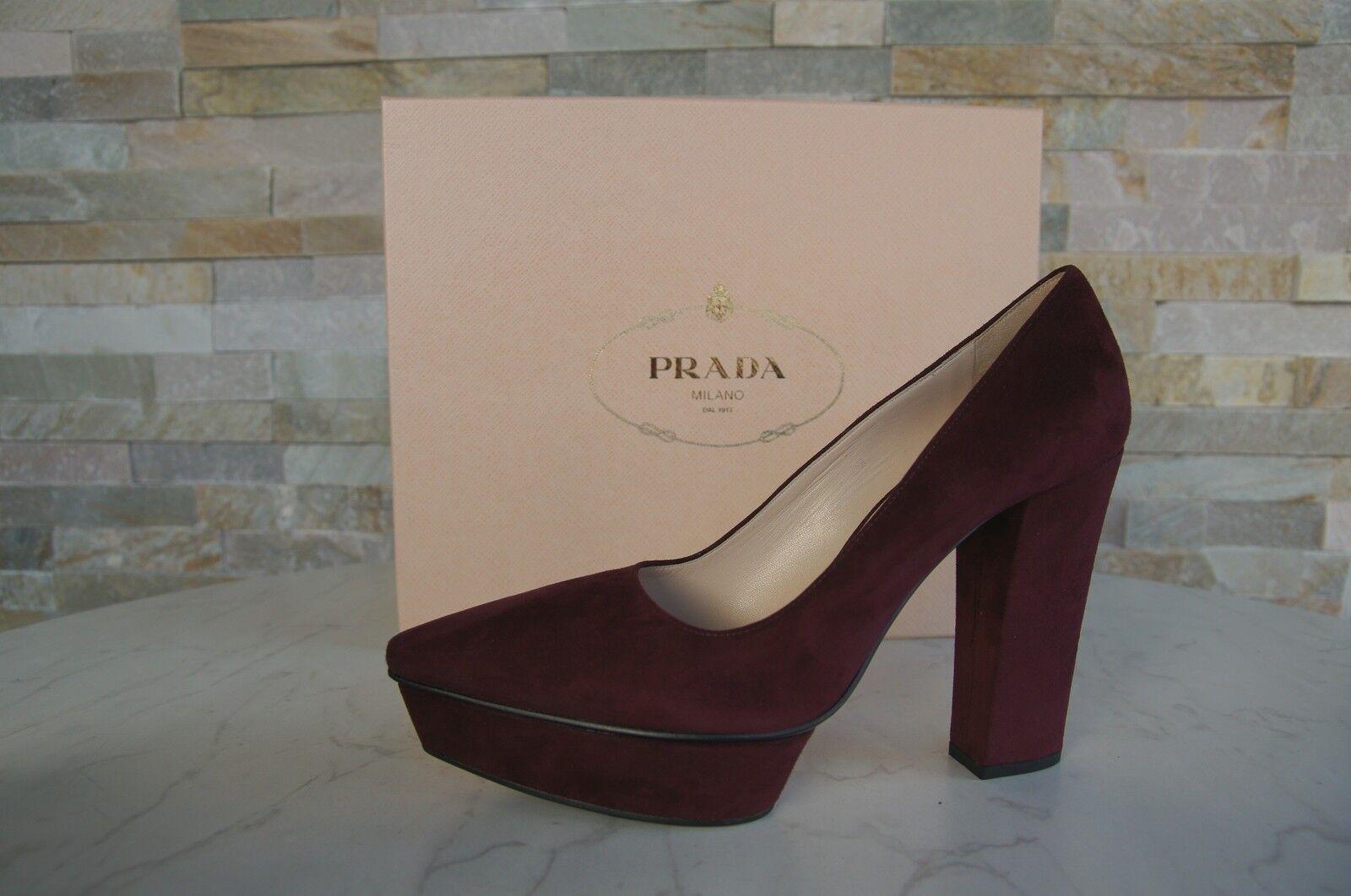 PRADA T 35,5 escarpins plateforme talons hauts Chaussures Bordeaux Rouge Nouveau EX Prix Recommandé