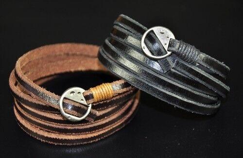 Details about  /HOT Super Long 5-Wraps Cool Surfer Vintage Leather Wristband Bracelet Cuff Brown