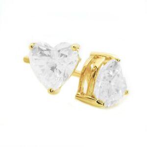 608a5f2c3 2 Ct Heart Cut Diamond Stud Earrings Solid 14K Yellow Gold Screw ...