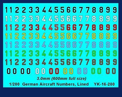 1/200 3mm Tall Decalcomanie Tedesco Seconda Guerra Mondiale Aerei Nn. Colore + Linea #yk -16 -200-