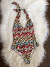 Authentic Missoni Sport Zig Zag Chevron Halter One Piece Swimsuit Size 6/8